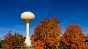 Water tower and autumn colored trees in Meridian Idaho Stock Images