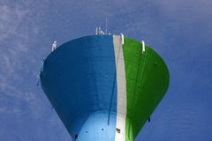 Water tower with cellular phone network antennas Royalty Free Stock Photos