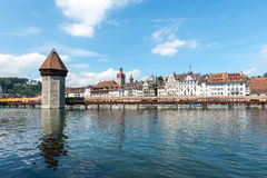 Water tower and Chapel bridge (Kapellbruecke) in Lucerne (Switze Stock Image