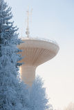 Water tower in cold winter weather Stock Photos
