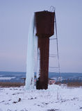 Water tower completely in ice Royalty Free Stock Photo