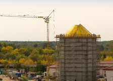 Water tower construction scaffolding Stock Images