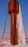 Water tower covered with snow and ice Stock Images