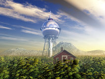 Water Tower and Farmhouse. Computer generated 3D illustration with a Water Tower and a Farmhouse Stock Images