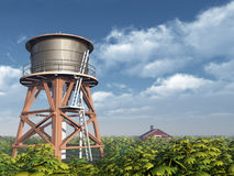 Water Tower and Farmhouse Stock Photography