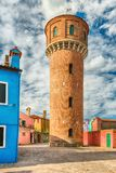 Water tower on the island of Burano, Venice, Italy Stock Image
