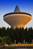 Water Tower in Jeddah and tree. Water Tower at sunset King Khaled Street, the center of Jeddah Royalty Free Stock Photo