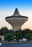 Water Tower in Jeddah with trees and palms Royalty Free Stock Photography