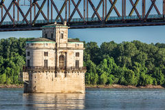 Water tower on Mississippi River Stock Image