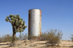USA, California: Water Tower in the Mojave Desert Royalty Free Stock Photo