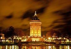 Water tower at night Stock Photo