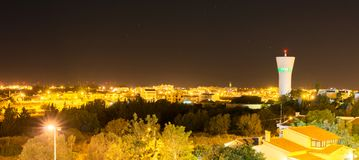 Portimao, Portugal. Water tower at night in Portimao, Portugal Royalty Free Stock Photo