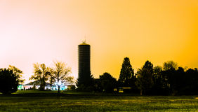 A water tower at night in Shrewsbury, Pennsylvania. Stock Image