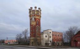 Water tower of the Obukhovsky plant on Oktyabrskaya Embankment. In St. Petersburg royalty free stock image