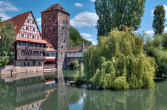 Water Tower Over Pednitz Royalty Free Stock Photos