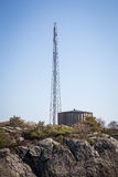 Water tower. A water tower and a radio mast stock photos