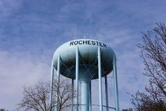 Water tower in Rochester Michigan royalty free stock photo