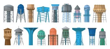 Free Water Tower Vector Cartoon Set Icon. Vector Illustration Tank Reservoir On White Background. Isolated Cartoon Set Icon Royalty Free Stock Images - 178959189
