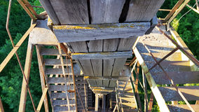 Water tower. View on a ladder from a height of a water tower royalty free stock images
