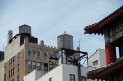 Water towers and buildings Stock Image