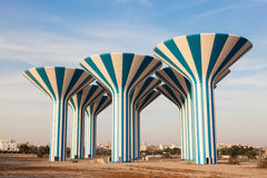 Water towers in Kuwait. Blue and white water towers in Kuwait, Middle East Stock Image