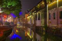 Water town in night Stock Photography