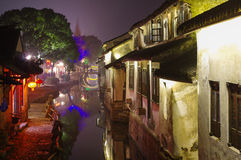 Water town in night Royalty Free Stock Photos