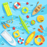 Water Toys And Other Objects From Above Illustration Stock Image