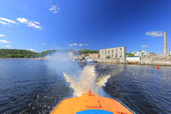 Water traces of speed boat hydrofoil Royalty Free Stock Images