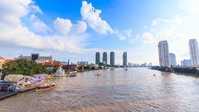 Water traffic and boat traffic in Chao Praya River, Bangkok Thailand. Scenic stock video footage