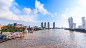 Water traffic and boat traffic in Chao Praya River, Bangkok Thailand stock video footage