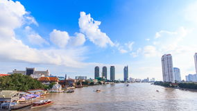 Water traffic and boat traffic in Chao Praya River, Bangkok Thailand. Scenic stock footage