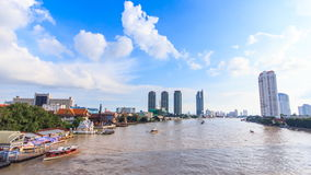 Water traffic and boat traffic in Chao Praya River, Bangkok Thailand. Scenic stock video