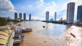 Water traffic and boat traffic in Chao Praya River, Bangkok Thailand. Time lapse stock video
