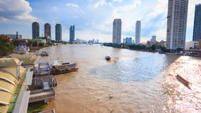 Water traffic and boat traffic in Chao Praya River, Bangkok Thailand. Time lapse stock video footage