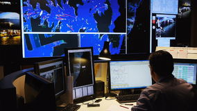 Water traffic control centre stock video footage