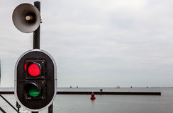 Water traffic light close-up photo Stock Images
