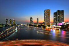 Water traffic at night. View point from Taksin Bridge, Bangkok, Thailand Royalty Free Stock Photos
