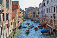 Water traffic on a Venetian canal Royalty Free Stock Photography
