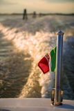 Water trail from a motor boat in venice, italy Stock Photography