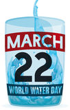 Water and Translucent Glass Design for World Water Day, Vector Illustration Stock Photo