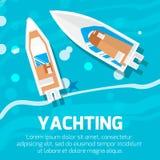 Water transport – top view motor yacht. Stock Photos