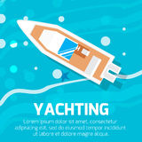 Water transport – top view motor yacht. Stock Photo