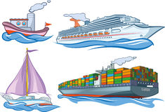 Water transport. An illustration of several basic types of water transportation Stock Images