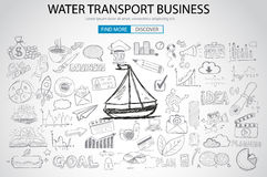 Water Transport Business Concept with Doodle design style Stock Images