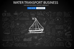 Water Transport Business Concept with Doodle design style Royalty Free Stock Images