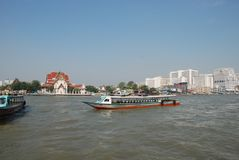 Water transport in the city of Bangkok in Thailand royalty free stock images