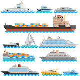 Water Transport Flat Decorative Icons Set Stock Image