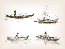 Water transport hand drawn sketch vector Royalty Free Stock Images