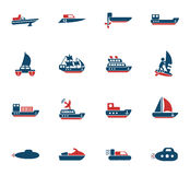 Water transport icon set Stock Images
